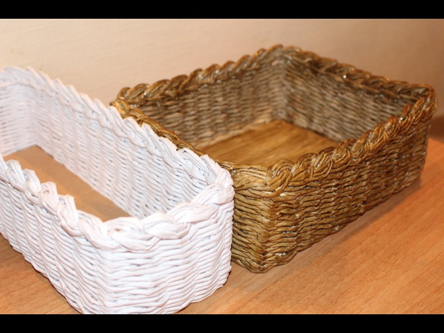 Одна из первых моих корзинок / плетение из бумажной лозы