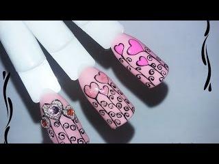 Дизайн ногтей к 14 февраля _ Дизайн ногтей гель лаком nail design Shellac