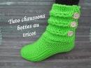 TUTO CHAUSSON TRESSE TORSADE AU TRICOT Booties knitting BOTITAS BOTAS TEJIDAS DOS AGUJAS
