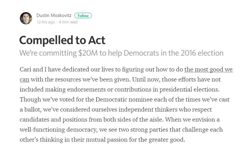 Один из основоположников фейсбук пожертвовал 20 млн долларов наагитацию против Трампа