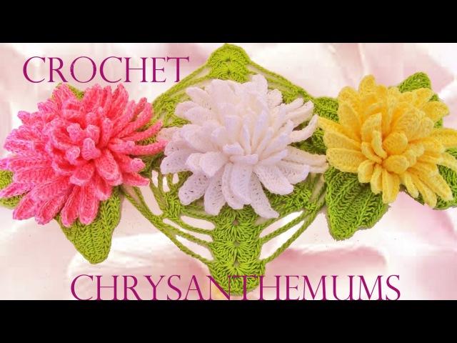 Como tejer fácil y rápido lindas flores Crisantemos - How to make Knitting chrysanthemums