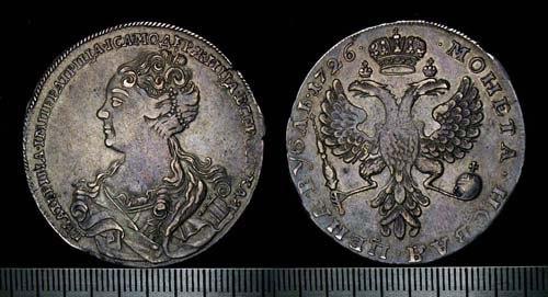 Рубль Екатерины I серебром. 1726