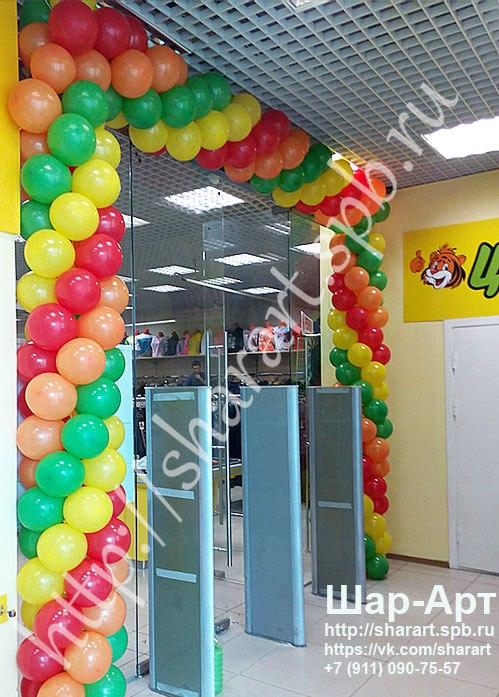Оформление воздушными шарами открытия магазинов , ресторанов , торговых центров .... Изготовление гирлянд из шаров и шаров с печатью для раздачи