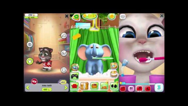 My Talking Tom Vs My Talking Angela Vs Talking Elephant Place Food Toys Gameplay for Kids