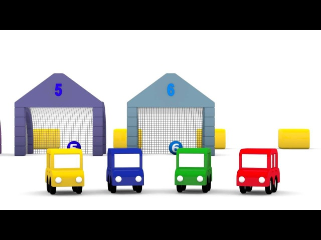 Apprendre à compter Quatre voitures colorées jouent au ballon Dessin animé educatif