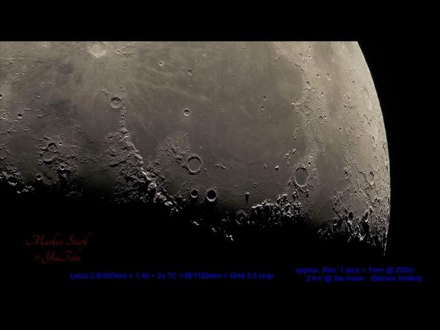 300x кратный зум Луны 4K, UHD, Leica 2.8400 mm