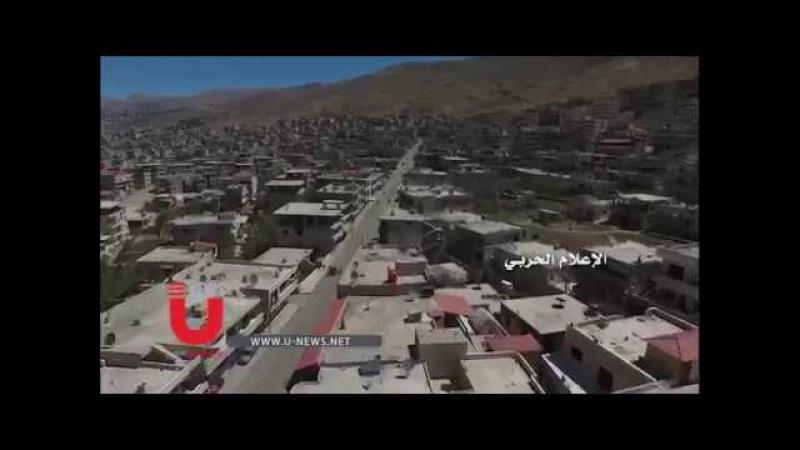 Escenas aéreas de la ciudad de Madaya en el campo de Damasco 20-04-2017