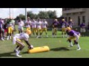 LSU DB Devin Voorhies stops Leonard Fournette to highlight goal line drill | Video