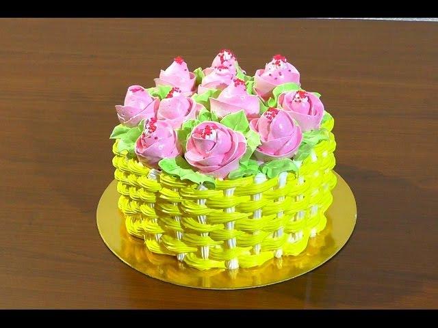 Торт корзина роз Как сделать торт корзину Кремовые торты Cake Basket of roses