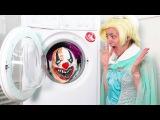 FROZEN ELSA HEAD IN A WASHING MACHINE w FREAKY JOKER vs SCARY KILLER CLOWN