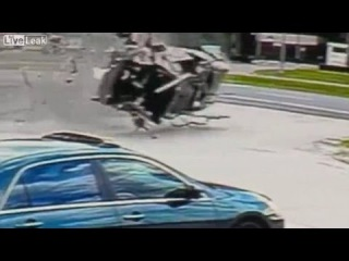 Surveillance video shows car going airborne in horrific crash, Good Samaritans in DeLand, Florida