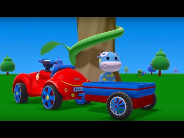Zeem Zoom - LA VACA PRINCESA, un coche y la GRUA- Caricaturas de carros para niños