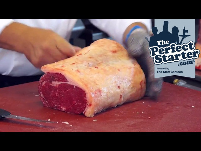 A Scotch Beef fore rib larder trimmed roast with the cap on