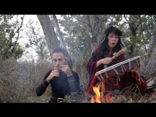 Закат, костер... шаманский бубен и варган