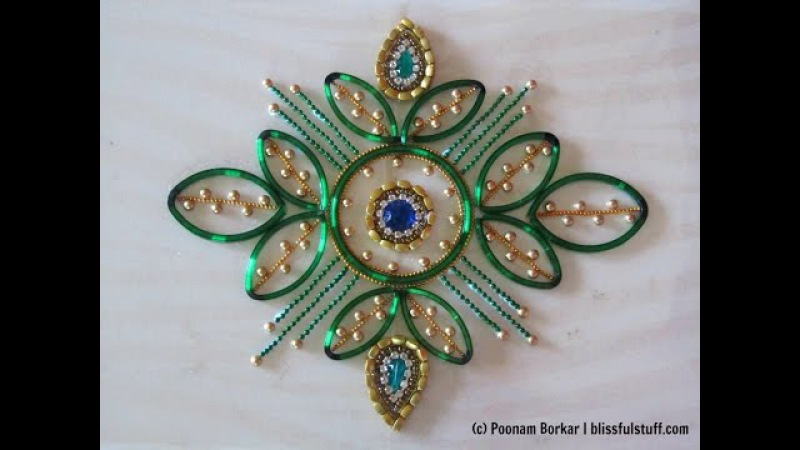 DIY - Kundan rangoli using broken bangles | Best out of waste