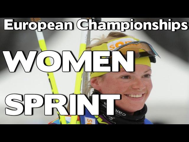 Biathlon. WOMEN. SPRINT. European Championships 2017 Duszniki Zdroj, Poland.