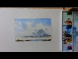 Мастер-класс по рисованию неба акварелью. How to paint Clouds and Sky in watercolor.