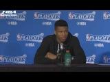 Antetokounmpo, Monroe &amp Middleton Interview  Raptors vs Bucks  G3  April 20, 2017  NBA Playoffs