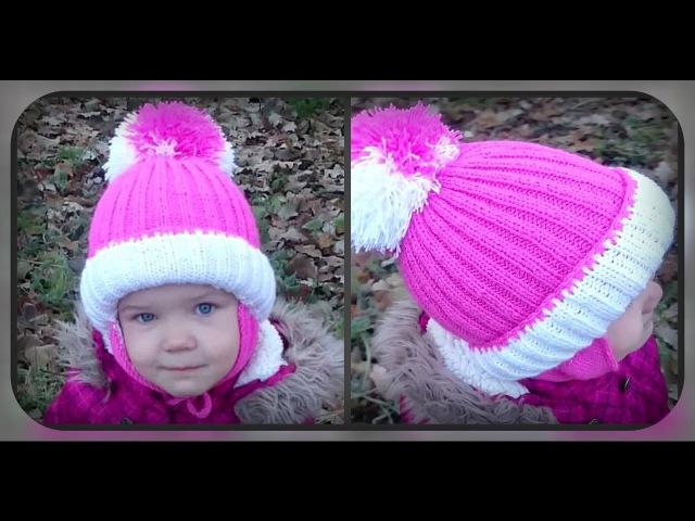 зимняя шапка с ушками на 4 5 лет вязание спицами
