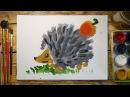 Как нарисовать ЁЖИКА красками Урок рисования для детей 4 5 лет