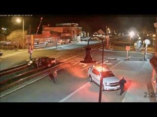 LiveLeak - Idiot Gets Stuck On Train Tracks, Train Closes Car Door For Idiot