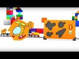 Spanish Cartoons. Cuatro COCHES coloreados. Rompecabezas. Caricaturas de carros para niños