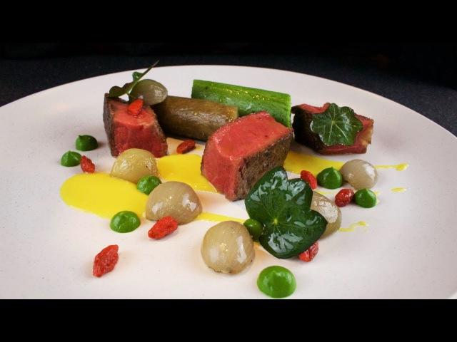 Plating Food Techniques - Sirloin steak, mustard, parsley, shallots, aubergine, polenta, goji