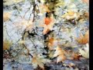 Leaves and reflection with autumn colors, watercolor painting by Rukiye Garip