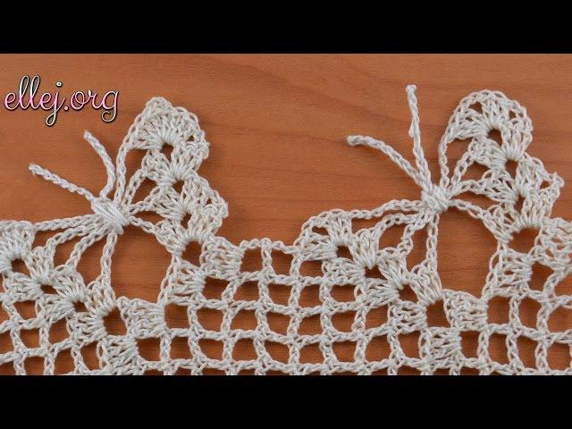 Кайма с бабочками крючком. Обвязка края. Crochet butterfly edging.