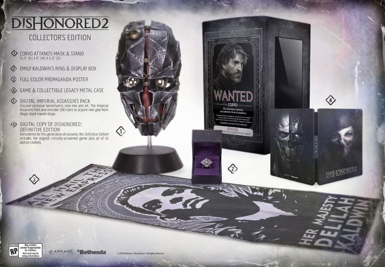 В состав коллекционного издания Dishonored 2 войдут: