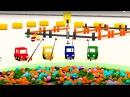 Dessin animé pour enfants de 4 voitures coloriées. Construction dun bateau