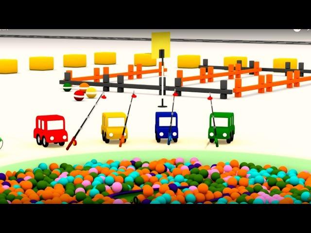 Dessin animé pour enfants de 4 voitures coloriées. Construction d'un bateau