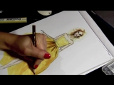 OSCAR DE LA RENTA SILK TAFFETA DRESS (P.1) _ Fashion Drawing