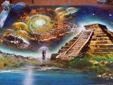 The Four elements spray paint art