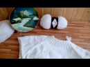 Белый мужской джемпер  спицами / Ализе Ланаголд файн / Часть 2 - петли рукавов отде...