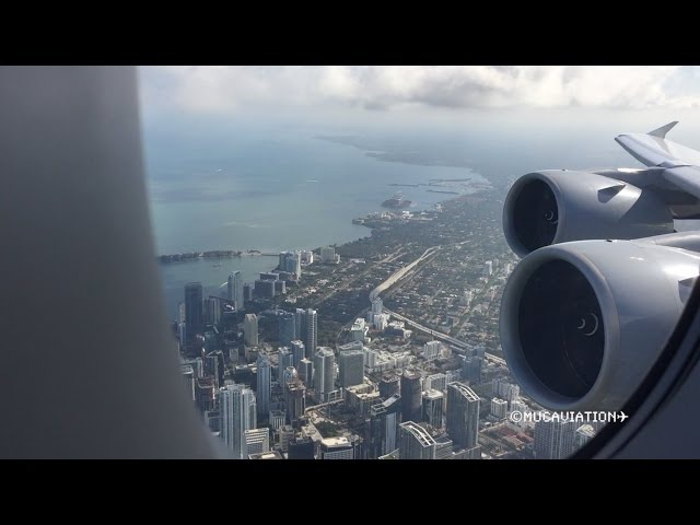 STUNNING VIEW Lufthansa Airbus A380-800 Takeoff from Miami [FULL HD]