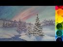 Рисуем Зимний пейзаж гуашью