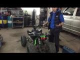 Установленный спортивный глушитель на квадроцикле МОТАХ T-Rex (Zongshen 125 куб)