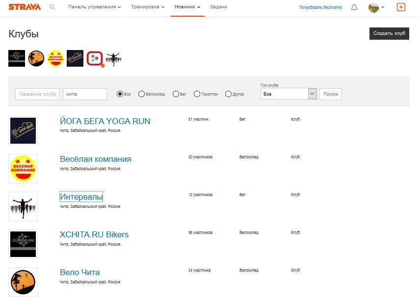 Strava клубы по интересам для бегунов и велосипедистов Чите и Забайкальском крае