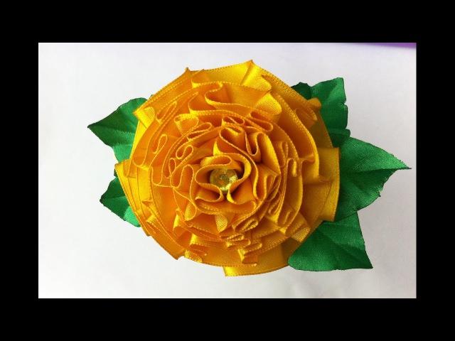Украшение на ободок Канзаши / Цветок Бархатца (Tagetes)