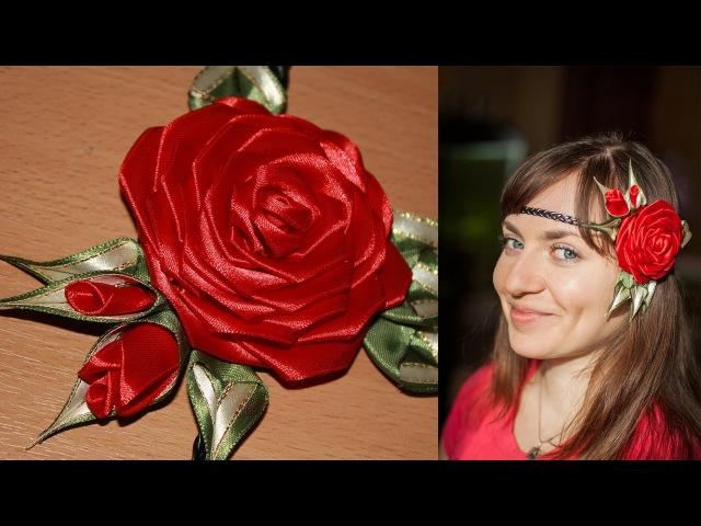Роза Канзаши на Афинке (мастер класс) DIY Kanzashi Rose