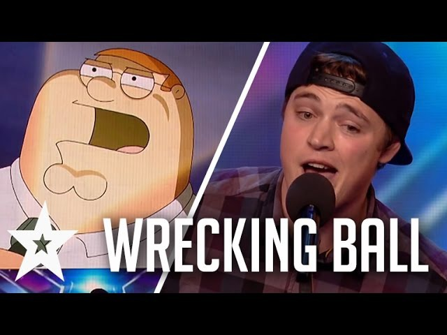 Peter Griffin, Elmo More Sing Wrecking Ball On Britains Got Talent