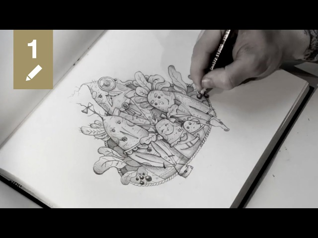 Sketchbook 01 Radish family portrait (pencil drawing time lapse)