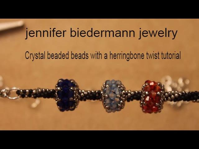 Birth stone beaded beads with a herringbone twist