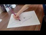 Как нарисовать Мангл (how to draw the mangle) ФНАФ 2. Timelapse.