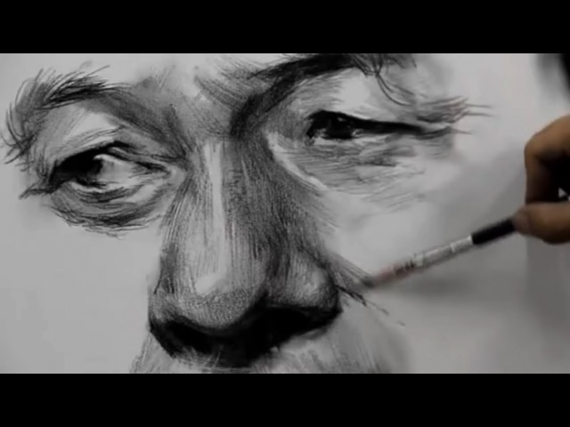 How To Draw Eyes , Nose Mouth with Charcoal vs Pencil