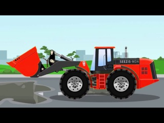 The Red Bulldozer and The Excavator - Construction Trucks Video - Vehicle & Car Planet for children