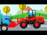 The Red Bulldozer and Excavator - Construction Trucks Video - World of Cars for children
