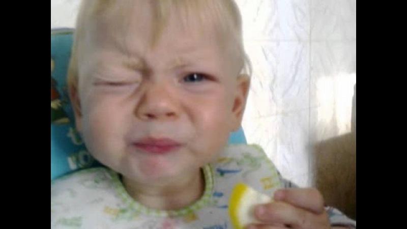 Приколы с детьми   Детям дают попробовать лимон