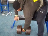 Mark Felix  85kg dumbell rows back training Mighty Mitts 2010